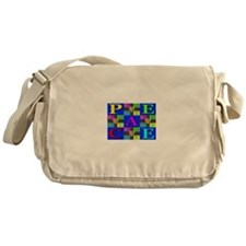 Love Rays Peace 9 Blocks Blue Messenger Bag