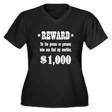 Lost Marbles Women's Plus Size V-Neck Dark T-Shirt