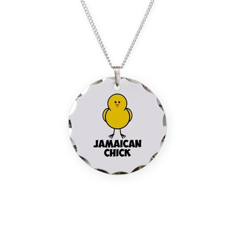 Jamaican Chick Necklace Circle Charm