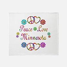 Peace Love Minnesota Throw Blanket