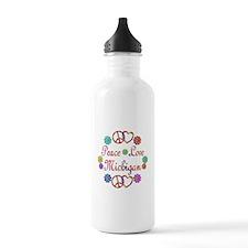 Peace Love Michigan Water Bottle