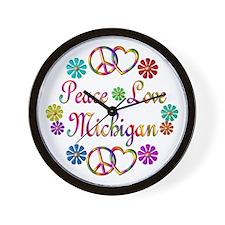 Peace Love Michigan Wall Clock