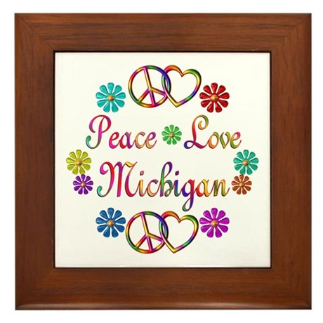 Peace Love Michigan Framed Tile