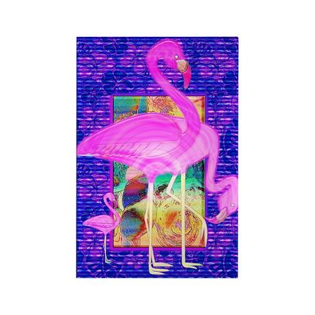 Pink Flamingos Shells and Hib Rectangle Magnet