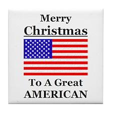 American Christmas Tile Coaster
