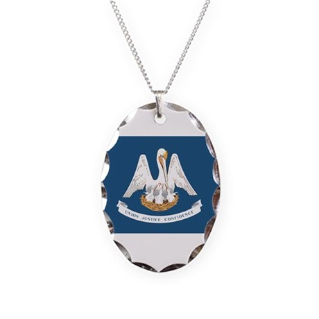 Louisiana State Flag Necklace Oval Charm