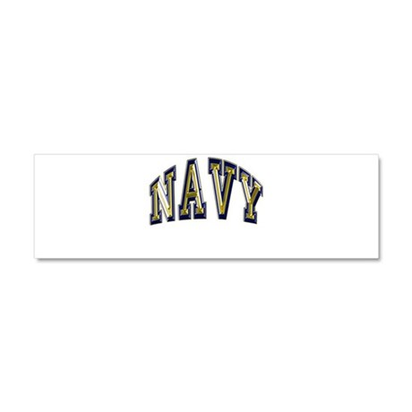 USN Navy Blue and Gold Car Magnet 10 x 3