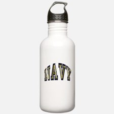 USN Navy Blue and Gold Water Bottle