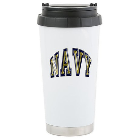 USN Navy Blue and Gold Stainless Steel Travel Mug