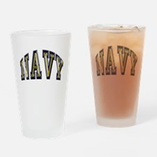 USN Navy Blue and Gold Drinking Glass