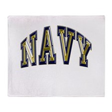 USN Navy Blue and Gold Throw Blanket
