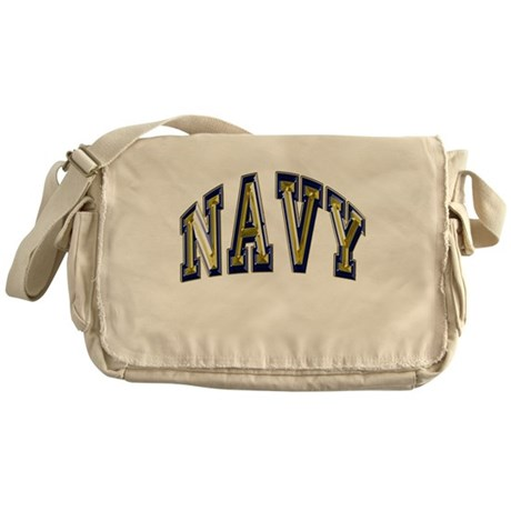 USN Navy Blue and Gold Messenger Bag