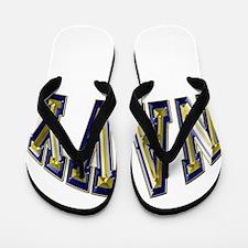 USN Navy Blue and Gold Flip Flops
