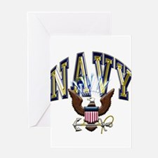 USN Navy Blue and Gold Eagle Greeting Card
