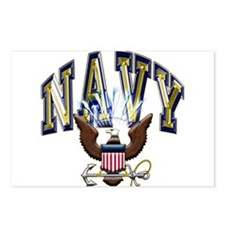 USN Navy Blue and Gold Eagle Postcards (Package of