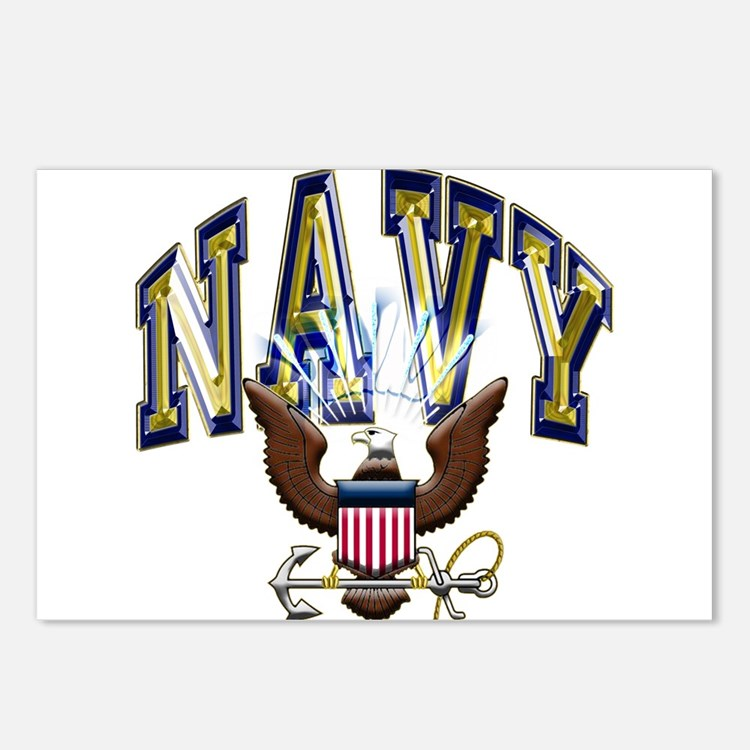 Usn Navy Blue And Gold Postcards (package Of 8)