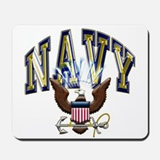 USN Navy Blue and Gold Eagle Mousepad
