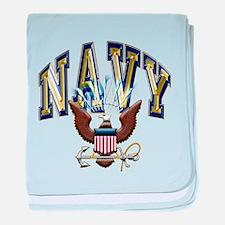 USN Navy Blue and Gold Eagle baby blanket