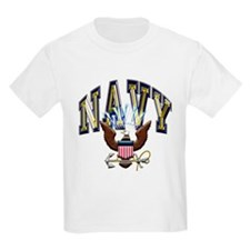 USN Navy Blue and Gold Eagle T-Shirt