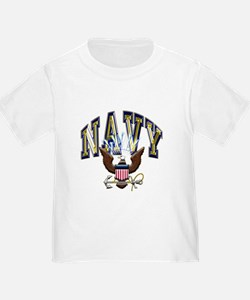 USN Navy Blue and Gold Eagle T