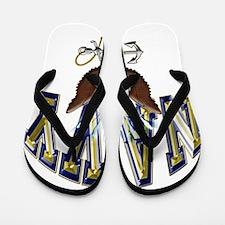 USN Navy Blue and Gold Eagle Flip Flops
