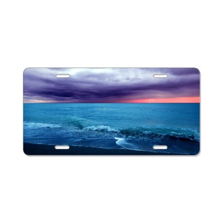 Sunset Teal and Purple Aluminum License Plate