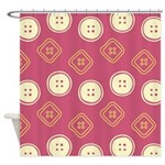 Polka Buttons Red Shower Curtain
