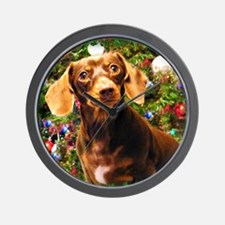 Christmas Dachshund Wall Clock