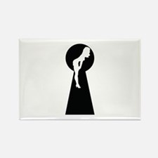 Sexy girl keyhole Rectangle Magnet (100 pack)
