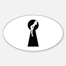 Sexy girl keyhole Sticker (Oval)