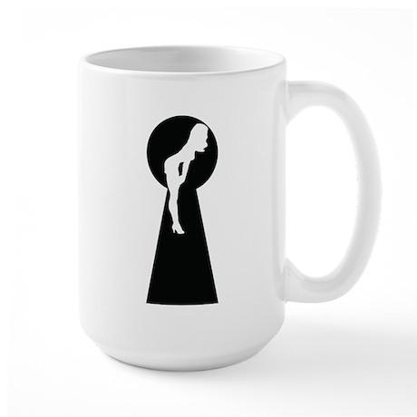 Sexy girl keyhole Large Mug