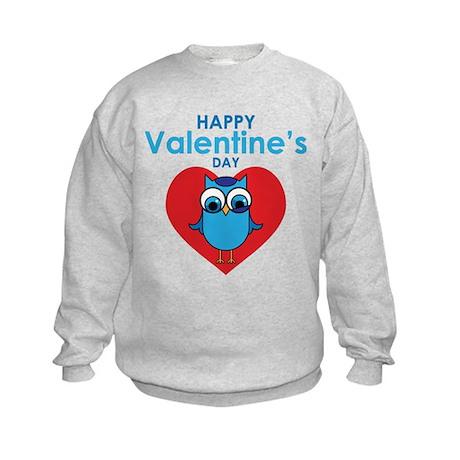 Valentine Owl Kids Sweatshirt