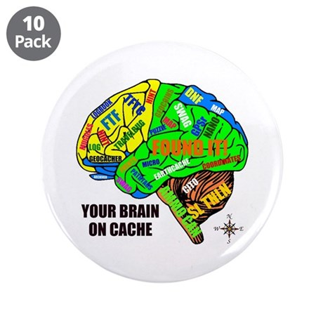 "Your Brain on Cache 3.5"" Button (10 pack)"