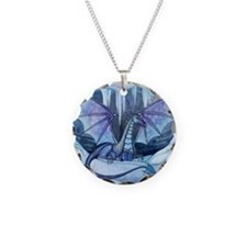 Ice Dragon Fantasy Art by Molly Harrison Necklace