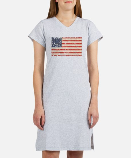 13 Colonies US Flag Distresse Women's Nightshirt