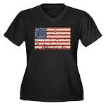 13 Colonies US Flag Distresse Women's Plus Size V-