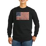 13 Colonies US Flag Distresse Long Sleeve Dark T-S