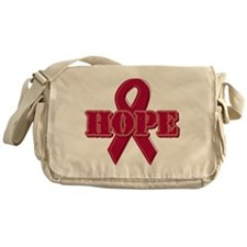 Burgundy Hope Ribbon Messenger Bag