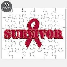 Burgundy Ribbon Survivor Puzzle