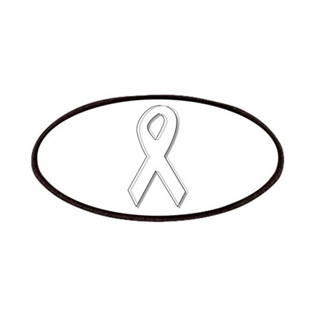 White Awareness Ribbon Patches