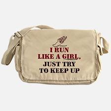 Run like a girl red Messenger Bag