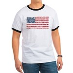 US Flag Distressed Ringer T