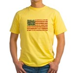 US Flag Distressed Yellow T-Shirt