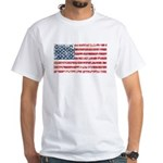 US Flag Distressed White T-Shirt