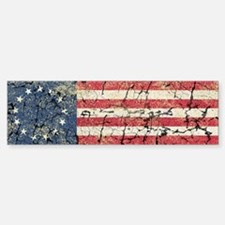 13 Colonies US Flag Distresse Bumper Bumper Sticker