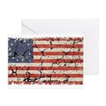 13 Colonies US Flag Distresse Greeting Cards (Pk o