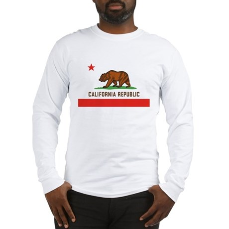 California State Bear Flag White Long-Sleeve Shirt