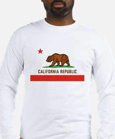 California State Bear Flag White Long-Sleeve Shirt