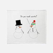 Snowman Smells Carrots Throw Blanket