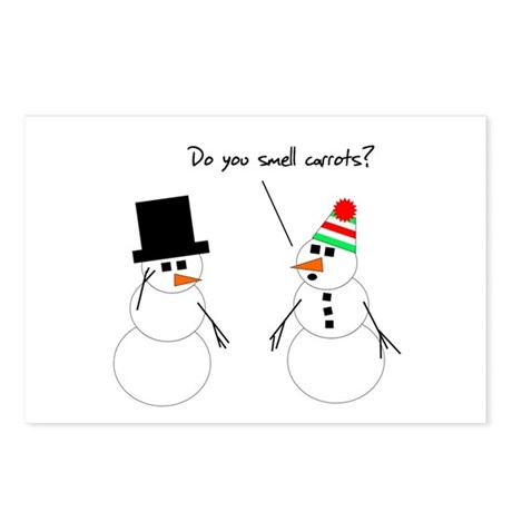 Snowman Smells Carrots Postcards (Package of 8)